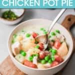 chicken pot pie in a bowl