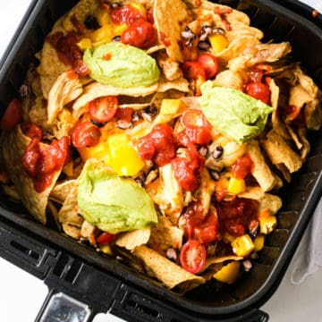 cooked air fryer loaded nachos