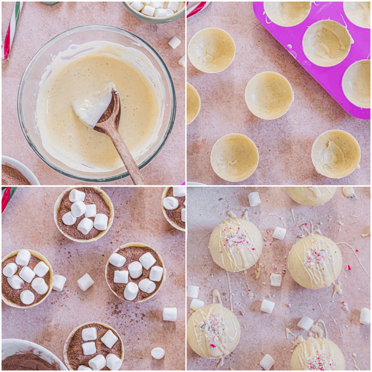 image collage showing the steps for making peppermint hot chocolate bombs