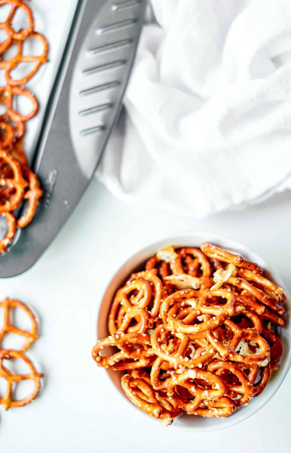 Bowl of baked seasoned pretzels for snacking